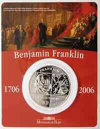 Frankreich : 1/4 Euro Benjamin Franklin im Originalblister  2006 Stgl. 1/4 Euro Benjamin Franklin