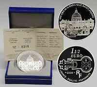 Frankreich : 1,5 Euro Papst Benedikt -  inkl. Originaletui und Zertifikat  2006 PP Papst Benedikt