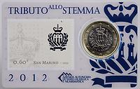 San Marino 1 Euro Mini-Kit mit 60ct Briefmarke 2012 vz/Stgl.