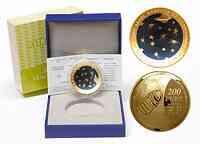 Frankreich : 200 Euro Astronomie blaues Gold - Münze gebogen  2009 PP