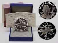 Frankreich : 20 Euro Marcel Dassault Piédfort inkl. Originaletui und Zertifikat  2010 PP