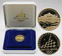 Italien : 20 Euro III. Palazzo Stupingi , inkl. Originaletui und Zertifikat  2005 PP 20 Euro Italien 2005, 20 Euro Olympiade Turin