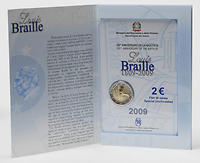 Italien 2 Euro Louis Braille in Originalblister 2009 Stgl.