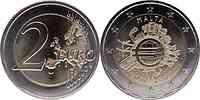 Malta : 2 Euro 10 Jahre Euro Bargeld  2012 bfr