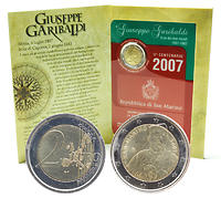 San Marino : 2 Euro 200. Geburtstag  Garibaldi  2007 Stgl.