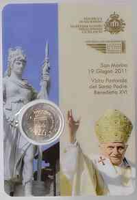 San Marino : 2 Euro Kursmünze Papstbesuch Benedikt XVI.  2011 Stgl.