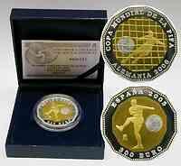 Spanien : 300 Euro Bimetall (Gold-Silber) - Münze zur Fußball Weltmeisterschaft inkl. Originaletui und Zertifikat 2005 PP