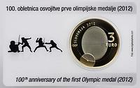 Slowenien : 3 Euro 100. Jahrestag der ersten slowenischen Olympia-Medaille  2012 PP