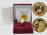 Belgien : 50 Euro Encomium Moriae des Erasmus von Rotterdam inkl. Originaletui und Zertifikat  2009 PP 50 Euro Erasmus von Rotterdam 2009