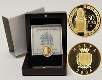 Malta : 50 Euro Auberge de Castille inkl. Originaletui und Zertifikat  2008 PP 50 Euro Malta 2008