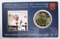 Vatikan : 50 Cent mit Briefmarke  2012 Stgl.