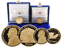 Vatikan : 70 Euro Set: 20 + 50 Euro Die Sakramente der christlichen Initiation: Die Eucharistie  2007 PP 20 Euro Vatikan 2007; 50 Euro Vatikan 2007; Vatikan Gold