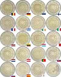 International : 2 Euro 30 Jahre Europäische Flagge Komplettsatz B, D (ein Prägebuchstabe unserer Wahl), EST,FIN, F, GR, IRL, I,LV, LT,L , M, NL, A, P, SK, SLO, E, CY  2015 bfr