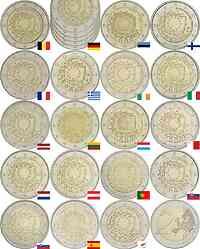 International : 2 Euro 30 Jahre Europäische Flagge Komplettsatz B,D (alle 5 Prägebuchstaben A-J), EST,FIN,F,GR,IRL,I,LV,LT,L,M,NL, A, P,SK,SLO,E,CY  2015 bfr