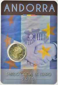 Andorra : 2 Euro 25 Jahre Zollunion mit der EU  2015 Stgl.
