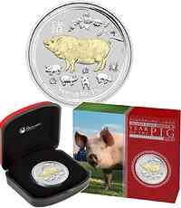Australien : 1 Dollar Jahr des Schweins - vergoldet - im Etui   2019 Stgl.