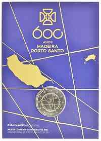 Portugal : 2 Euro 600. Jahrestag der Entdeckung der Insel Madeira  2019 Stgl.