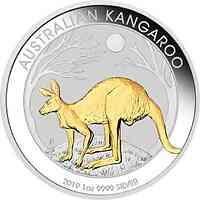 Australien : 1 Dollar Kangaroo vergoldet Perth Mint Variante  2019 Stgl.