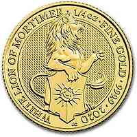 Großbritannien : 25 Pfund The Queen´s Beasts #8 - Weisser Löwe 1/4 oz  2020 Stgl.