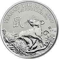 Großbritannien : 2 Pfund Lunar Ratte  2020 Stgl.