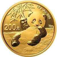 China : 200 Yuan Goldpanda 15 gr. 2020 Stgl.