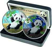 China : 2x10 Yuan Silberpanda Farbset Night & Day #2  2020 Stgl.