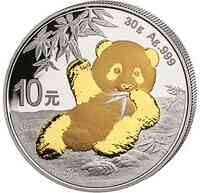 China : 10 Yuan Silberpanda vergoldet 2020 Stgl.