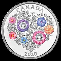 Kanada : 3 Dollar Fest der Liebe - mit Swarowskikristall  2020 PP