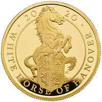 Großbritannien : 500 Pound The Queen's Beast - White Horse of Hanover 5 Oz  2020 PP