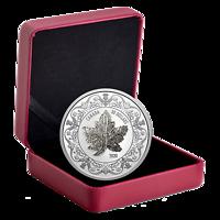 Kanada : 30 Dollar Maple Leaf Brooch Legacy mit Zirkonen+Kette 2 oz 2020 PP
