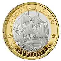 Großbritannien : 2 Pfund Reise der Mayflower vergoldet  2020 PP