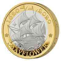 Großbritannien : 2 Pfund Reise der Mayflower - Piedfort vergoldet  2020 PP