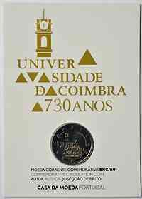 Portugal : 2 Euro 730. Jahrestag der Gründung der Universität Coimbra  2020 Stgl.