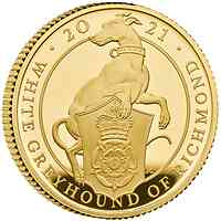 Großbritannien : 25 Pfund The Queen´s Beasts #10 - Greyhound 1/4 oz  2021 Stgl.
