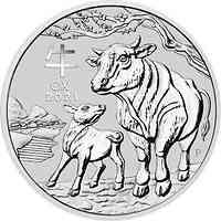 Australien : 2 Dollar Jahr des Ochsen 2 oz  2021 Stgl.