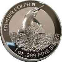 Australien : 5 Dollar Spinnerdelfin - Highrelief Etui + Num. Zerti 1 oz  2020 Stgl.