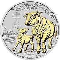 Australien : 1 Dollar Jahr des Ochsen - vergoldet, im Etui  2021 PP