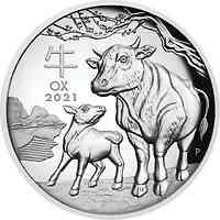 Australien : 1 Dollar Jahr des Ochsen - Highrelief     1 oz  2021 PP