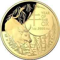 Australien : 100 Dollar RAM Jahr des Ochsen - im Etui  1 oz  gewölbt  2021 PP