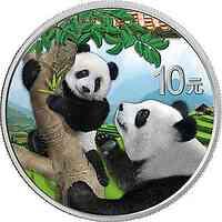 China : 10 Yuan Silberpanda #1 - rotes Dach farbig  2021 Stgl.
