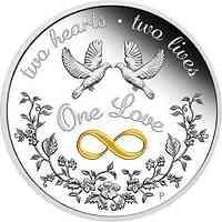 Australien : 1 Dollar Eine Liebe - in Geschenkverpackung   1 oz vergoldet  2021 PP