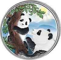 China : 10 Yuan Silberpanda  Variante #2 farbig  2021 Stgl.