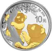 China : 10 Yuan Silberpanda vergoldet  2021 Stgl.