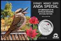 Australien : 1 Dollar Kookaburra ANDA Sydney PM Waratah - Blister farbig  2020 Stgl.