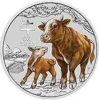 Australien : 2 Dollar Jahr des Ochsen 2 oz farbig  2021 Stgl.
