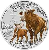 Australien : 30 Dollar Jahr des Ochsen 1 kg farbig  2021 Stgl.
