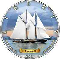 USA : 1 Dollar Silber Eagle - Bluenose II #4 mit Zerti  2021 Stgl.