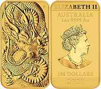 Australien : 100 Dollar Drachen Münzbarren 2021 Stgl.