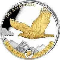 Kongo : 20 Fr Weißkopfseeadler vergoldet 2021 Stgl.