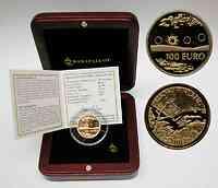 Finnland : 100 Euro Mitternachtssonne, inklusive orginaler Holzkassette und Zertifikat, Auflage 25000 Stück !  2002 PP